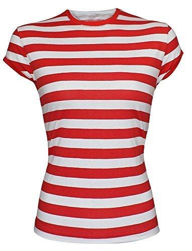 Para mujer fiesta temtica rojo y blanco camiseta de rayas estilo sombrero disfraz