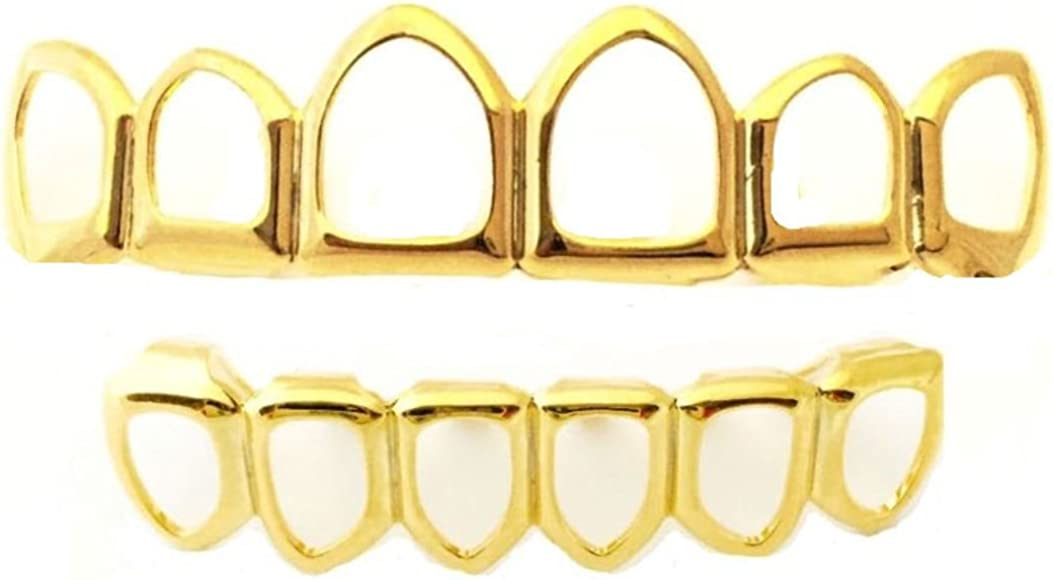 Big Dawgs Bling Hip Hop 14K Gold Plated Open Face Grillz Set Player Style