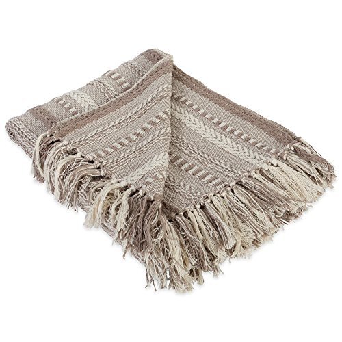 DII Farmhouse Cotton Stripe Blanket Throw with Fringe For Chair, Couch, Picnic, Camping, Beach, & Everyday Use , 50 x 60' - Braided Stripe Stone