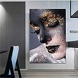Arte de pared de lienzo 40x60cm sin marco decoración moderna para el hogar figura de cartel de mujer dorada y negra para decoración de loft