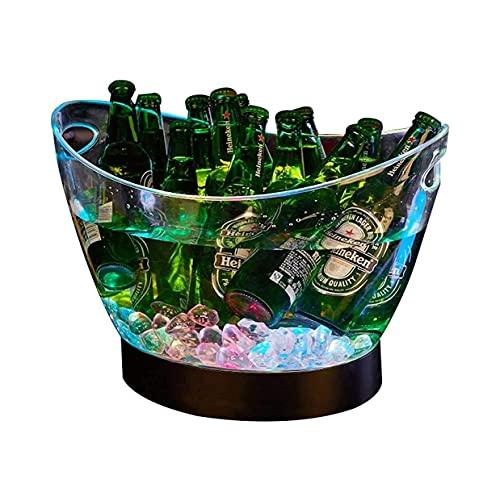 Bar Club Nocturno Cubos De Hielo Cubo De Hielo Cambio De Colores LED Cubo Enfriador Gran Capacidad Champagne Vino Bebidas Cubo De Cerveza para KTV Fiesta Bar Boda En Casa