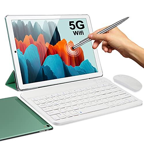 5G Tablet 10 Pollici con Wifi Offerte 4GB RAM 64GB 128GB Espandibili Android 10.0 Certificato Google GMS 1.6Ghz Tablet PC 6000mAh 5+2MP Bluetooth GPS Tablet WiFi Versione con Tastiera e Mouse(Verde)