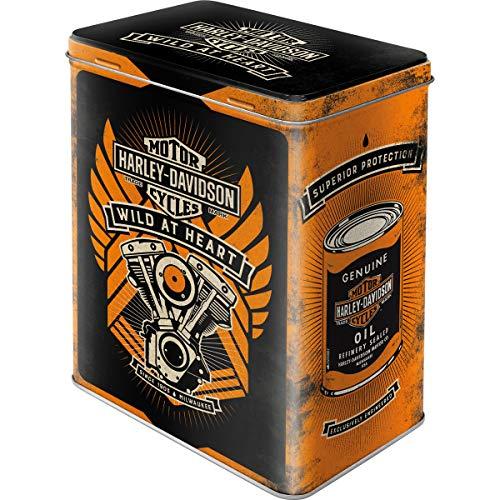 Nostalgic-Art Retro Vorratsdose L Geschenk-Idee für Motorrad-Fans, Große Kaffee-Dose aus Blech, Harley Davidson - Wild At Heart, 3 l
