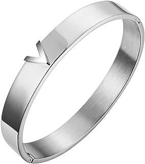 Silver Titanium Steel V Shape Love Bracelet