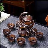 Juego de té de regalo de piedra de cerámica para moler semiautomática, juego de té creativo de Kung Fu té caliente, set de té creativo para ceremonia de té, platillos (color: B)-C