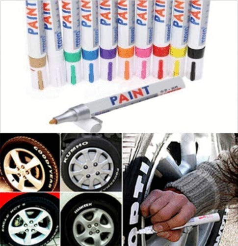 COLIBYOU Universal Waterproof Permanent Paint Marker Pen Car Tyre Tire Tread Rubber Metal (white)