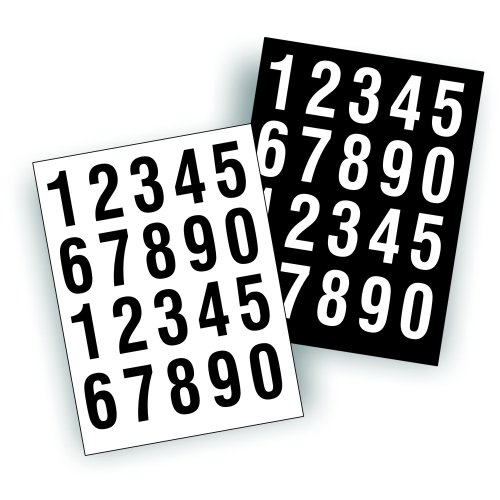 Sheets of Decals Stickers - USDOT Numbers Great to Number Boat Or Truck 2 of Each Number per Sheet - Black and White, 2 inch Tall