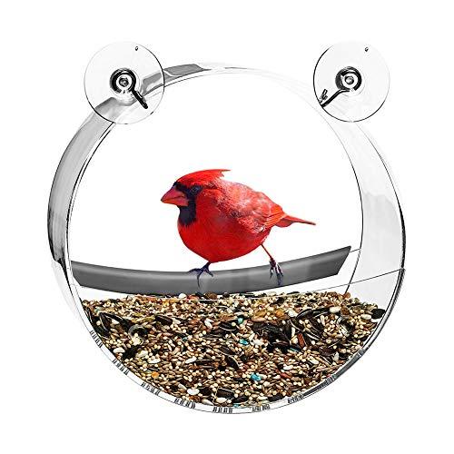 Vogelvoederhuisje met hangvenster, vogelvoederhuisje met wildvenster, met zuignappen en ramen, gemakkelijk te reinigen, ideaal als cadeau, voor alle soorten tijd