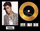 Justin Bieber - Pantalla de CD con efecto vinilo, disco negro u dorado y 3 celdas de película (disco dorado, marco final)