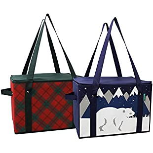 Earthwise Insulated Reusable Grocery Bag Shopping Box with XMAS Christmas Holiday Design REINFORCED BOTTOM PANEL and ZIPPER TOP LID and EXTRA SIDE HANDLES FOR EASY LIFTING ( Set of 2 )