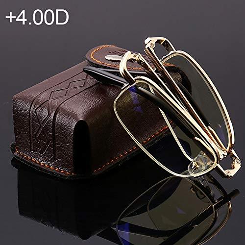 JSANSUI gunstige leesbril Folding Anti Blueray Presbyopic leesbril met etui en reinigingsdoekje, (+ 4.00D / Goud)