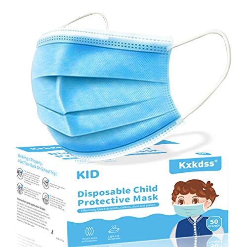 Kids Disposable Face Mask, 50pcs Blue 3 Layers Disposable for Children Protection Safety Face Masks