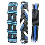 MJARTORIA Homme Bracelet de Main Cuir Artificiel Tresse Corde Multirang Sportif Reglable Mixte Lot de 3pcs