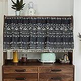 YXW Cortinas Cortas de Ventana de Cocina rústica Retro para baño/Comedor/Debajo del Fregadero/Armario, Cenefa de Cortina de patrón geométrico Blanco y Negro con borlas, 68 × 45 cm