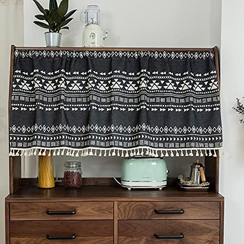 YXW Retro Rustikales Küchenfenster Kurze Vorhänge für Bad/Esszimmer/Unter Waschbecken/Schrank, Schwarz Weiß Geometrisches Muster Scheibengardine mit Quasten, 68 × 45 cm