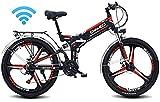 Bicicletas Eléctricas, Bicicleta plegable eléctrica E-bici de montaña for adultos, 48V 10AH E-MTB Pedal Assist conmuta bicicletas 90KM duración de la batería, de posicionamiento GPS, 21 de nivel Shift
