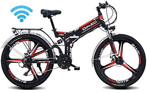 RDJM Ebikes 24' Folding Ebike, 300W Electric Mountain Bike for Adults 48V 10AH Lithium Ion Battery Pedal Assist E-MTB with 90KM Battery Life, GPS Positioning, 21-Speed (Color : Black)