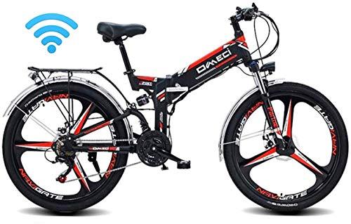 RDJM Bciclette Elettriche Folding Bike elettrica Montagna-Bici for Adulti, 48V 10AH E-MTB Pedal Assist Commute Bike 90KM Durata della Batteria, Il GPS di Posizionamento, 21-Livello Maiusc Assisted