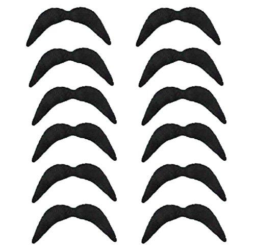 Redstar Fancy Dress - Pack de 12 Bigotes postizos - para Diferentes Ocasiones y Estilos - Negro