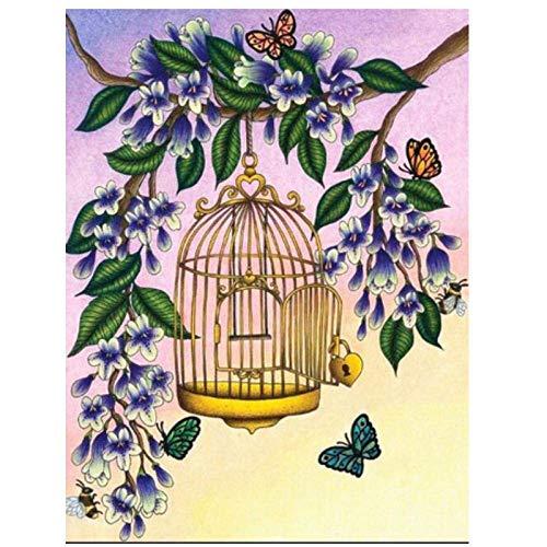 JUNYYANG Mariposa Jaula Flor Pintura Diamante Bricolaje Paisaje 5d Kits Taladro Completo para el hogar decoración de Pared Regalo Bordado Rhinestone Pegado Punto de Cruz Mosaico, 40x50cm