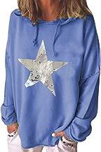 Darringls Sudadera para Mujer, Mujeres con Capucha Lados Manga Larga Casual Cuello Redondo Parche en el Codo Camisa de Entrenamiento Camiseta de Suelta Blusas