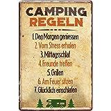 """schilderkreis24 Targa in metallo con scritta divertente """"Camping Regeln"""" in metallo, idea regalo retrò, camper, camper, camper, regalo di compleanno, Natale per tutti i fan del campeggio, 20 x 30 cm"""