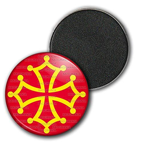 Magnet Aimant Frigo 3.8cm Croix Occitane Occitanie Languedoc Toulouse Sud France Or Rouge