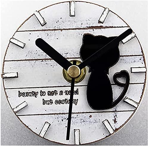 JZTOL País Pastoral Retro Tridimensional Lindo Gatito Madera Nevera Reloj Gato Creativo Refrigerador Imán De Succión Reloj De Pared Reloj