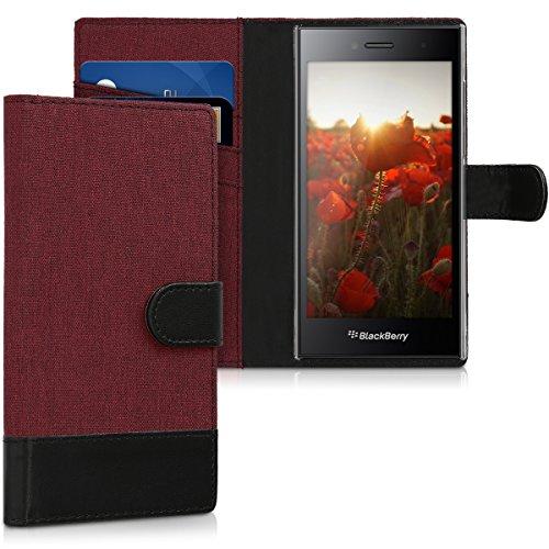 kwmobile BlackBerry Leap Hülle - Kunstleder Wallet Case für BlackBerry Leap mit Kartenfächern & Stand - Dunkelrot Schwarz