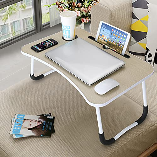 VLikeze Laptop Bed Table, Foldable Portable Lap Standing Desk with Cup Slot, Notebook Stand Breakfast Bed Tray Book Holder for Sofa, Bed, Terrace, Balcony, Garden - Yellow