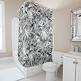 EUNNT Diamond Duschvorhänge, wasserdicht, Polyester-Stoffdruck, Badezimmer-Dekor mit Standard-Größe, Polyester, weiß, 180x180cm