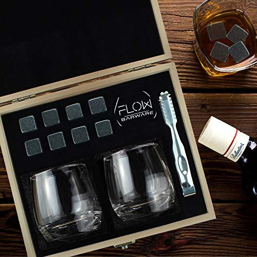 Flow Barware Deluxe Whiskygläser und Whiskysteine, in Geschenkbox aus Holz, italienisches Vintage-Kristallglas für Scotch, Bourbon, Gin & Tonic sowie Cocktails - 4