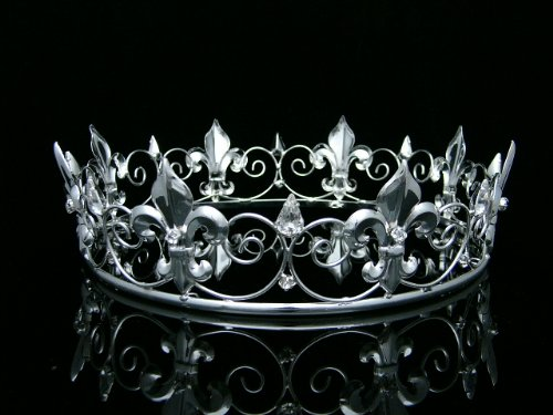 Men's Full King's Crown for Theather Prom Party - Clear Crystals Silver Plating T373