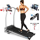 ANCHEER Folding Treadmill, Electric Motorized Treadmill with Heart Rate & LCD Monitor, Walking Jogging Running Machine Trainer Equipment for Home & Office Workout Indoor Exercise Machine