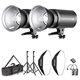 Neewer Flash Estroboscópico 600W Kit Iluminación:(2)300W Monoluz (2)Reflector...