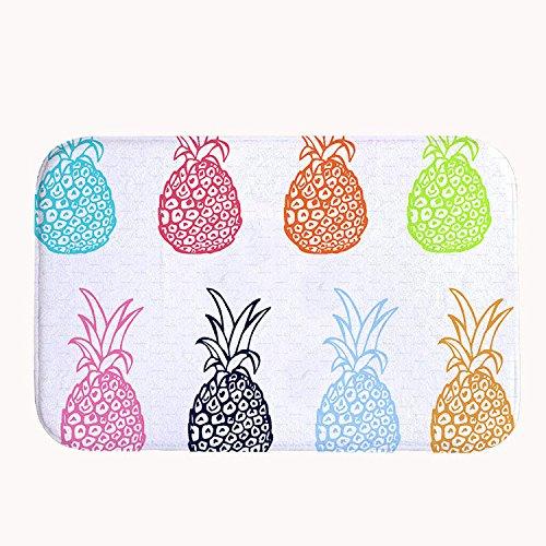 """rioengnakg Colorful Ananas Muster Badteppich Coral Fleece Bereich Teppich Fußmatte Eingang Teppich Fußmatten für Vorderseite Außen Türen Eintrag Teppich, Korallenvlies, 16\"""" x 24\""""(40 x 60cm)"""