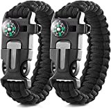 4 in 1 Outdoor Survival Bracelet Multi-Function Camping Emergency Rope, Bracelet Camping Hiking Gear with Compass, Fire Starter, Whistle and Emergency