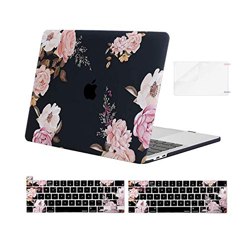 MOSISO Compatible with MacBook Pro 13 inch Case 2016-2020 Release A2338 M1 A2251 A2289 A2159 A1989 A1706 A1708, Plastic Peony Hard Shell Case&Keyboard Cover Skin&Screen Protector, Black