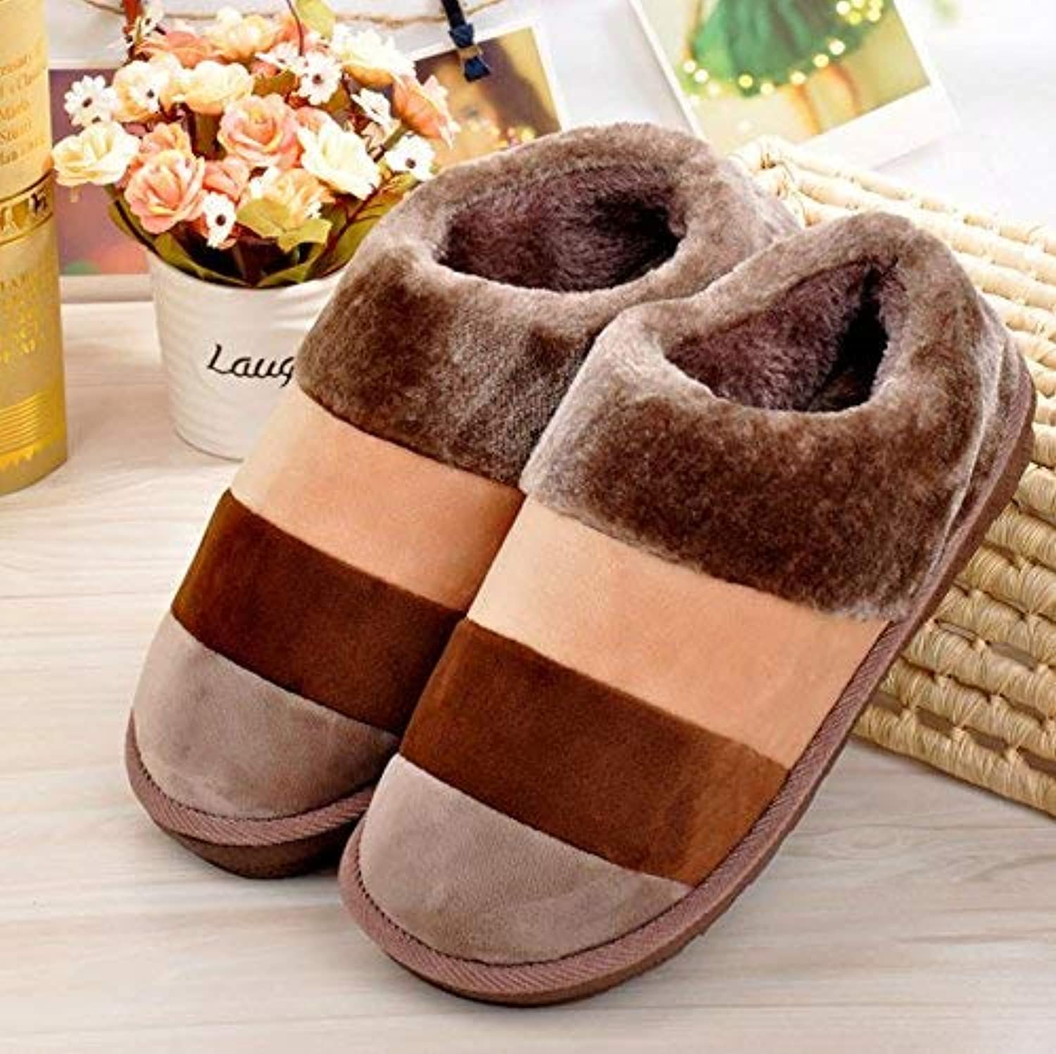 Men 's Home Cotton Slippers Indoor Stripe Brown Keep Warm Casual Slippers Mixed color Personality Quality Large for Men