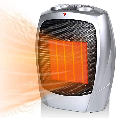 Ceramic Space Heater for Room, 750W/1500W Portable Electric Heater with Adjustable Thermostat,...