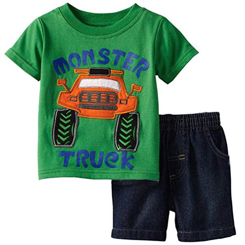 Toddler Boy Clothes Monster and Truck Shirt and Shorts Summer Outfit Set 5t Green