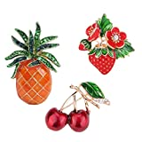 SELOVO 3 Pcs Fruit Enamel Cherry Strawberry Pineapple Brooch Pin Gold Tone