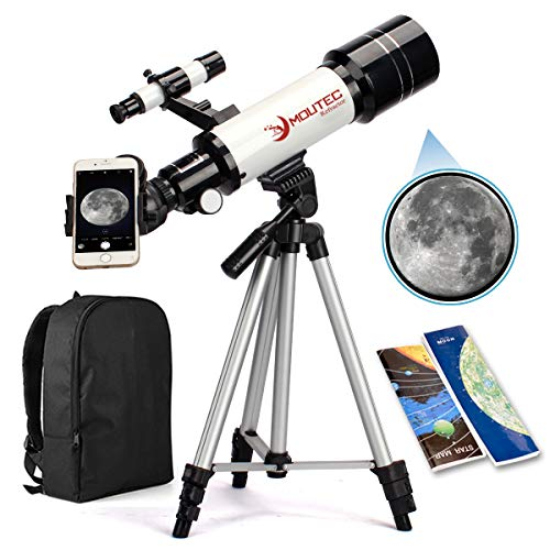 Moutec Telescope for Kids and Beginners with Backpack Smartphone Adapter, Portable Astronomical Travel Telescope, 70mm Refractor - Great Astronomy...