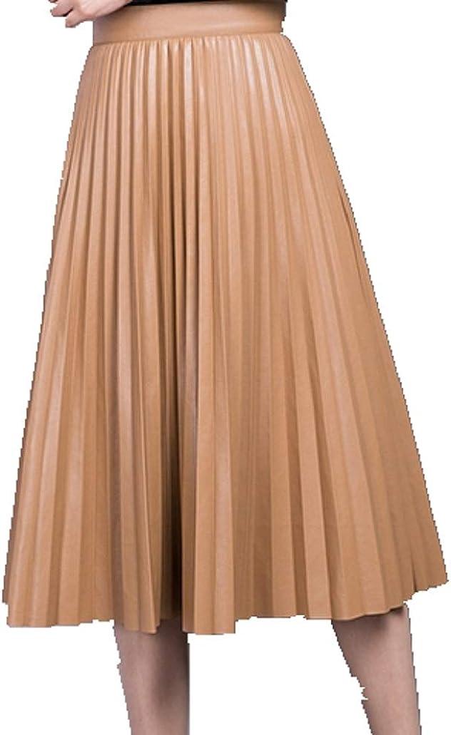 Women's High Waist Faux Leather Vintage A-line Pleated Tutu Skirt