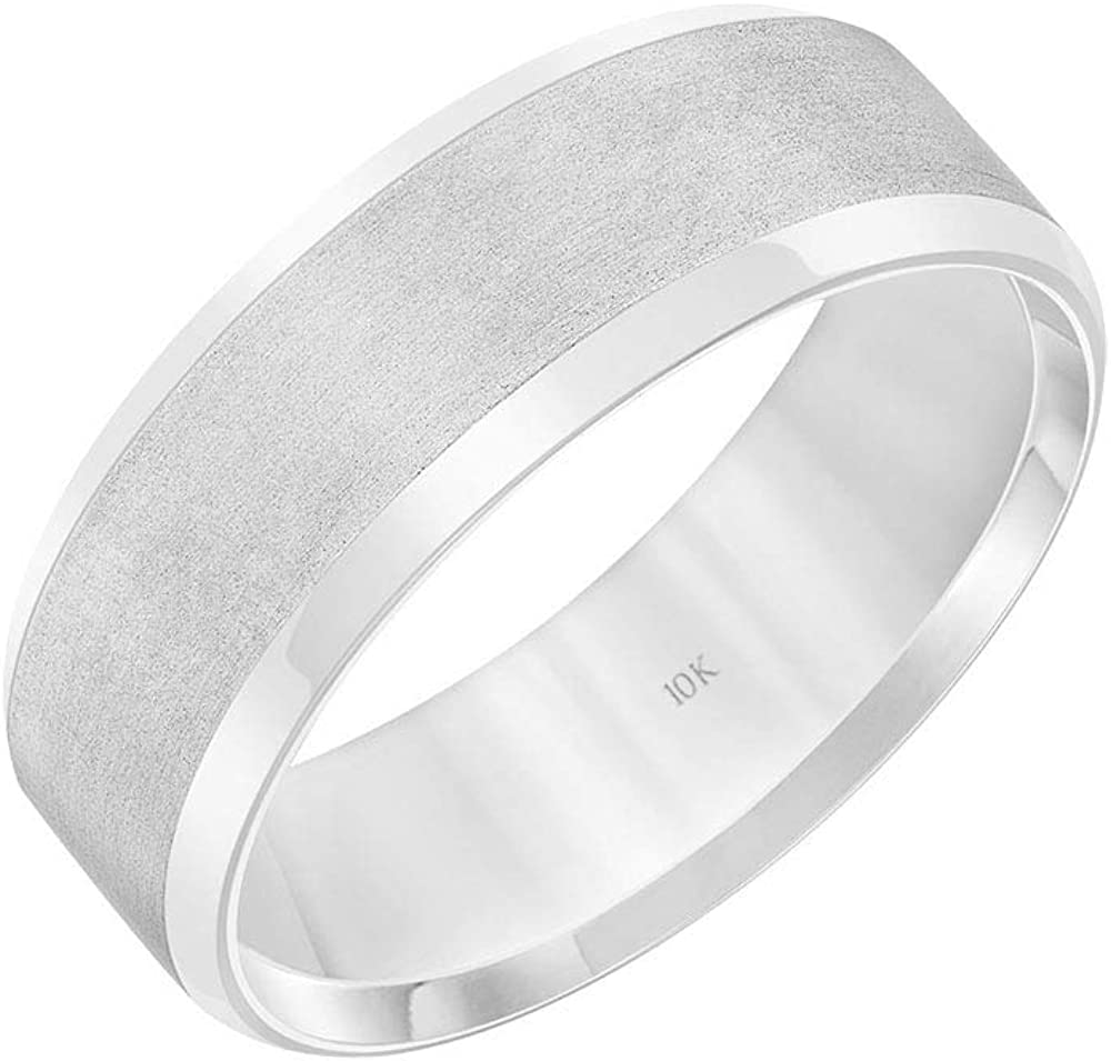 Import 10K Limited time cheap sale White Gold 7MM Classic Plain Band Men Ring for Satin Wedding