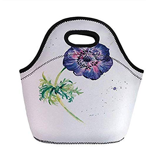 Bolsa De Almuerzo,Flor De Anémona Rama De Flor De Jardín Con Salpicaduras...