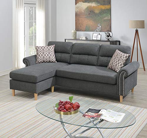 Poundex 2 Piece Reversible Sectional, Slate