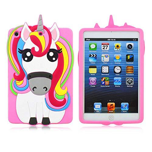 Logee Pink Unicorn Case for iPad Mini 1/2/3,3D Cartoon Animal Cute Soft Silicone Rubber Character Design Purple Cover, Kawaii Cool Protective Skin Shell for Kids Child Teens Girls (iPad Mini 1 2 3)