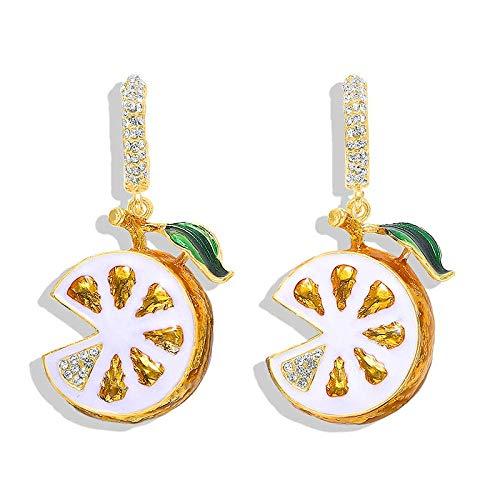 OUHUI Lindos Pendientes de Limón Pendientes de Fruta Naranja Pendientes Hechos a Mano Pendientes de Gota Pendientes de Botón para Niñas Moda/A