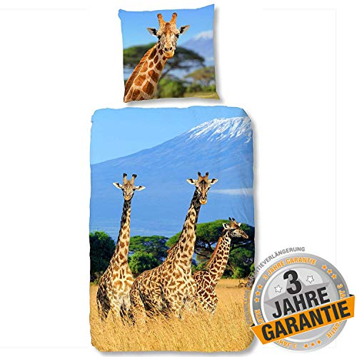 Aminata Kids süße Bettwäsche-Set Giraffe Afrika 135 x 200 cm + 80 x 80 cm aus Baumwolle mit Reißverschluss, unsere Kinder-Bettwäsche mit Giraffen-Motiv ist weich und kuschelig, Tier-Motiv, Safari